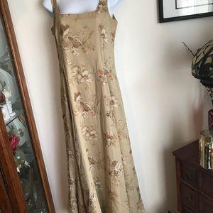 100% Silk LAUREN Ralph Lauren long dress lined 4